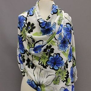 Women's  SHAWL BLUE GREEN FLORAL